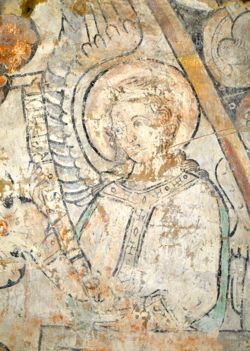 The Archangel Raphael. Recently uncovered mural in Kil church, Närke. C. 1250.