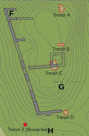 2014 trenches A-E and rough locations of 2015 trenches F-H.