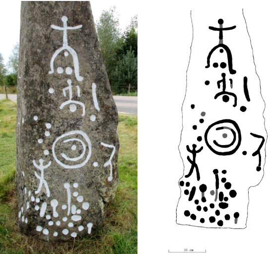 Stele B, north side. Most people in Scandy rock art are just stick figures, so gender is sometimes difficult to judge. An oversized erection identifies men, like the guy bottom left. A ponytail hairdo is a common identifier for women, and there are cases where the ponytail is combined with a cupmark in the crotch. This attribute identifies the two otherwise ungendered top figures on the stele as women. Their unusual, extremely wide-legged stance suggests to me that the artist is emphasising female fertility. The concentric circles represent the sun and/or a shield here too.