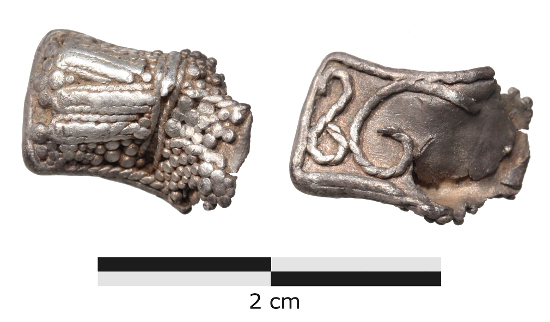 Fragment of a Birka-type crucifix from the Omø hoard.