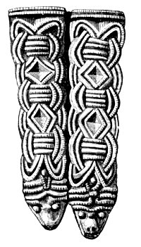 Two strap ends from the eponymous Borre ship grave. Image from Oluf Rygh's 1885 Norske Oldsager.