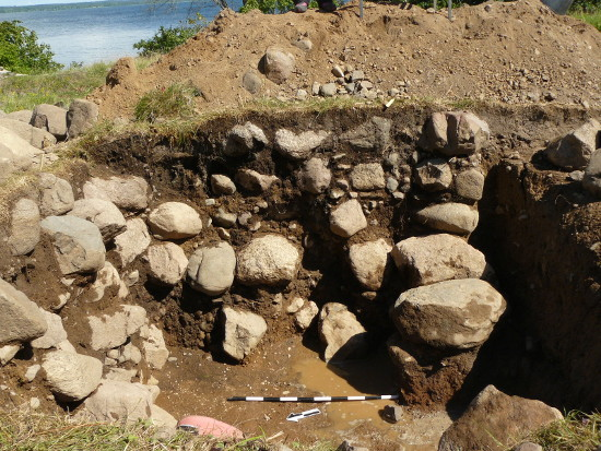 Trench D: stone-filled cellar. Note the remains of the cellar's southern wall, right.