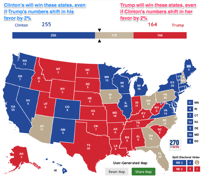 The Electoral College Map One Week Out: Clinton Victory ...