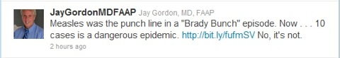 Jay Tweet - Comparing MN Outbreak to Brady Bunch