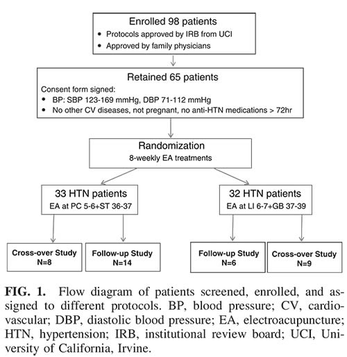 Study design for acupuncture (electroacupuncture) versus hypertension