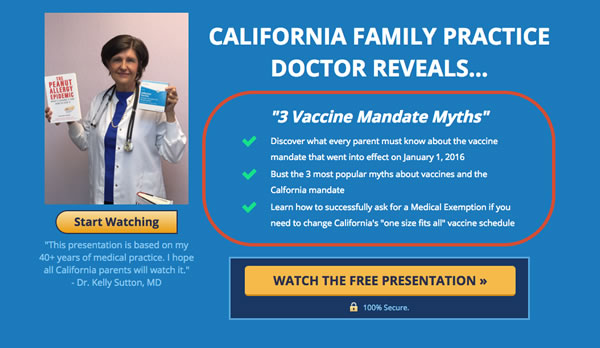 Dr. Kelly Sutton: Selling webinars telling parents how to obtain a medical exemption to school vaccine mandates, whether the exemption is appropriate or not.
