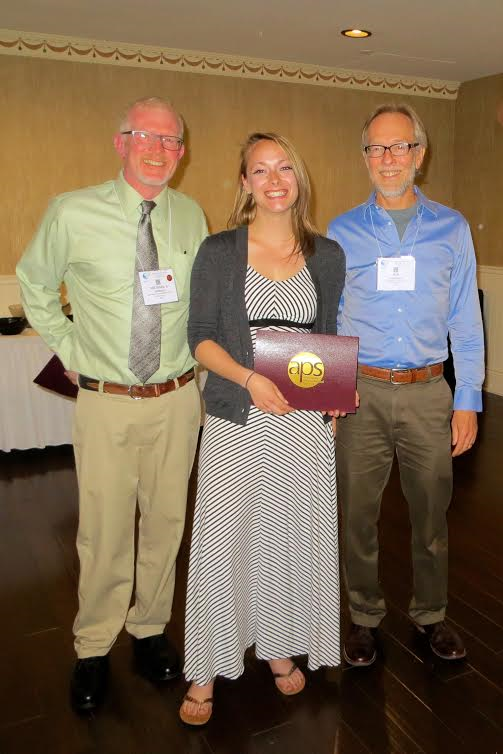 Ashley Heim, Colorado State University pictured with Dr. Michael Hedrick (left), current chair of the CEPS and Jon Harrison (right) the 2016 August Krogh Distinguished Lecturer.