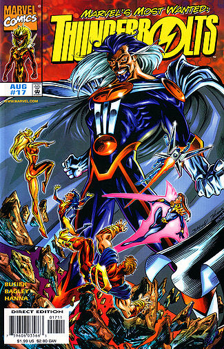 The cover of Thunderbolts #17, featuring the villain Graviton.
