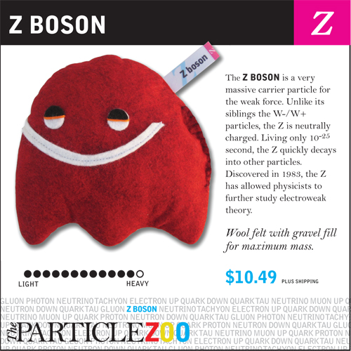 A plush Z boson, from the Particle Zoo.