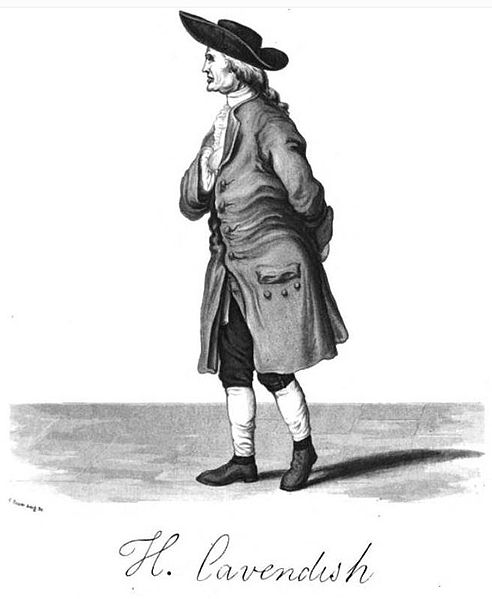 Only known portrait of Henry Cavendish, obtained by subterfuge. Image from Wikipedia.