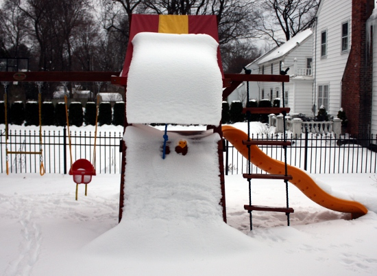 The snowy playset from the side.