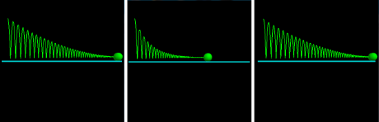 Left: bouncing ball with drag linear in velocity. Middle: bouncing ball with drag quadratic in velocity. Right: bouncing ball with drag a fixed fraction of the spring force.