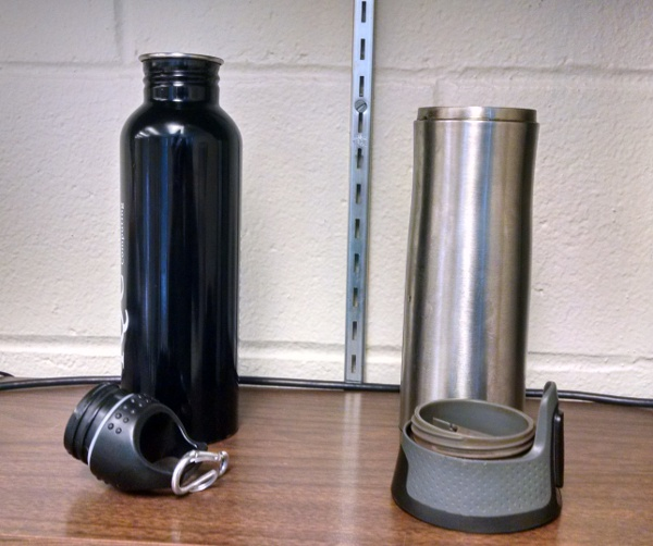 Visible-light image of my metal water bottle and insulated coffee mug, each half-full with hot water.