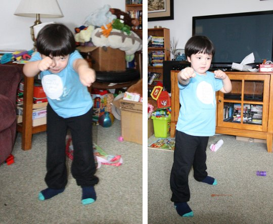 The Pip, striking the poses necessary for using his blasting power to blast bad guys.