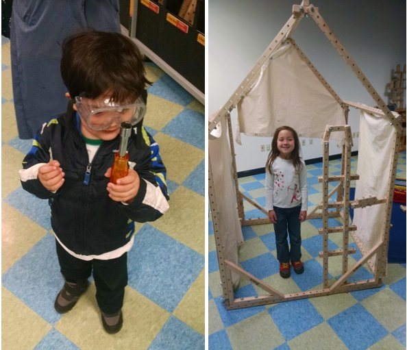 "Left: The Pip with a screwdriver and his ""fixing goggles."" Right: SteelyKid inside the awesome house she built."