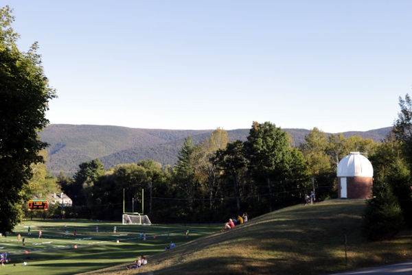 Playing field and mountains at the Burr and Burton Academy in Manchester, VT.