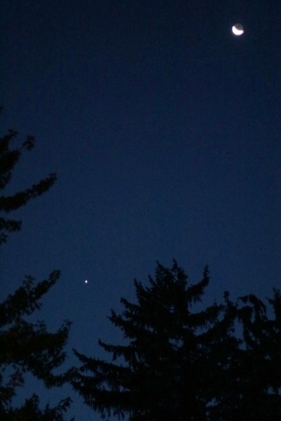 The Moon and Venus from the back yard of Chateau Steelypips