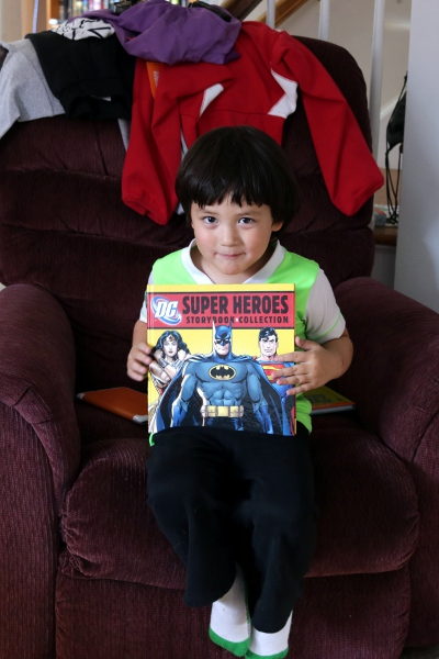 The Pip with his big new book of superhero stories.