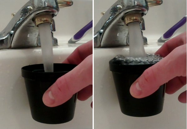 Two screencaps from the video showing the way the stream from the faucet spreads when water level of the container gets close to the nozzle.