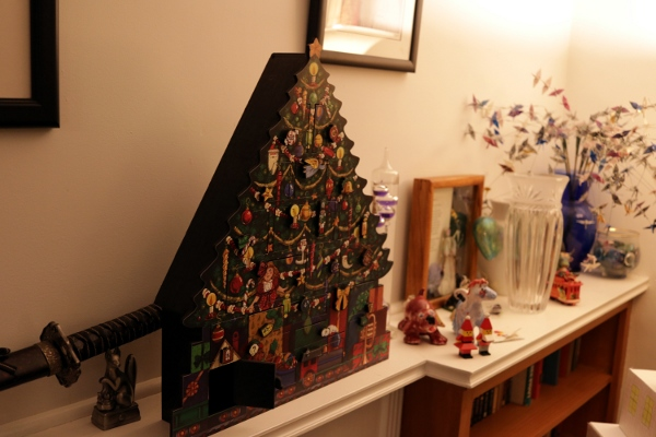 The wooden Advent calendar in Chateau Steelypips.