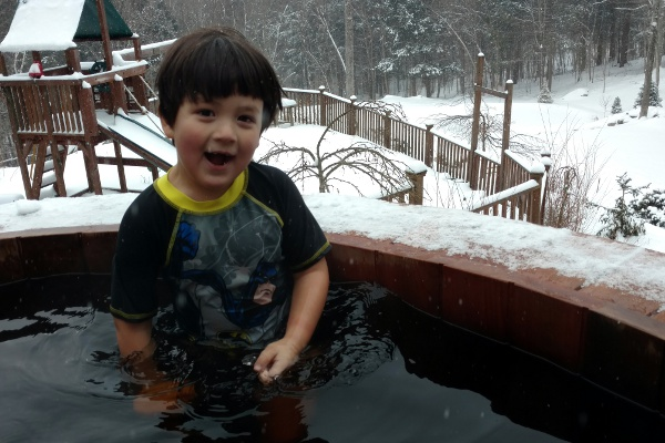 The Pip doing a happy dance inside the outdoor hot tub.