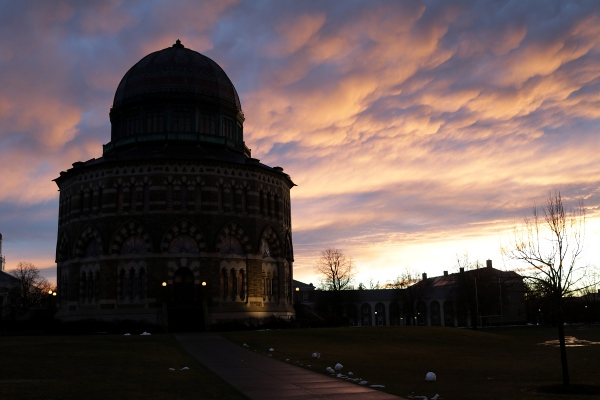 The Nott Memorial with dramatic clouds.