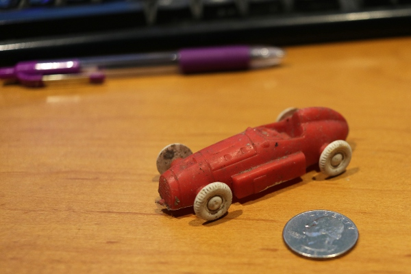 An old plastic car I found under the cellar stairs.