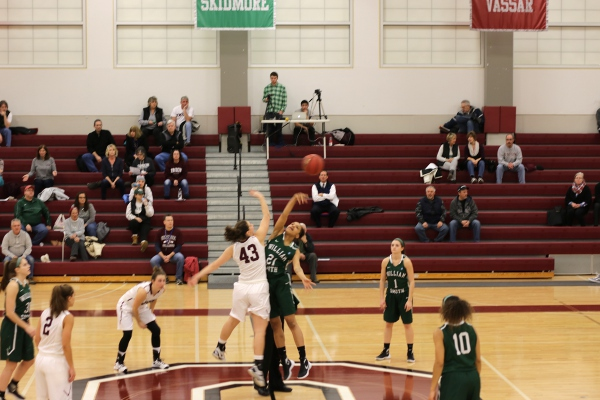 Opening tip of the women's basketball game.