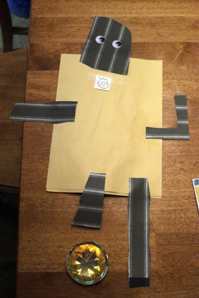 The Pip's construction-paper robot.