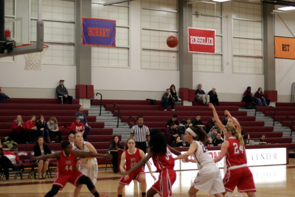 A free throw during the first half of the Union women's victory over RPI.