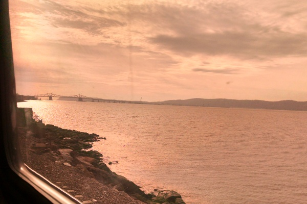 View out the window of the Amtrak train coming up on the Tappan Zee Bridge.