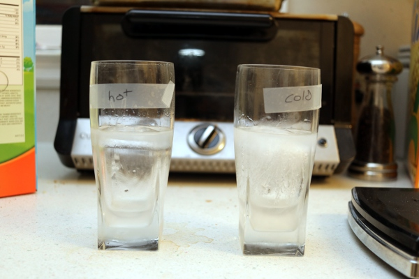 Frozen water from the Mpemba Effect experiment.