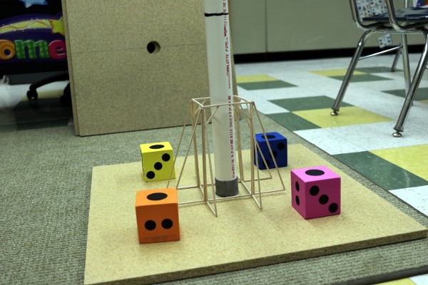 SteelyKid's OM team's balsa wood structure, ready for testing.