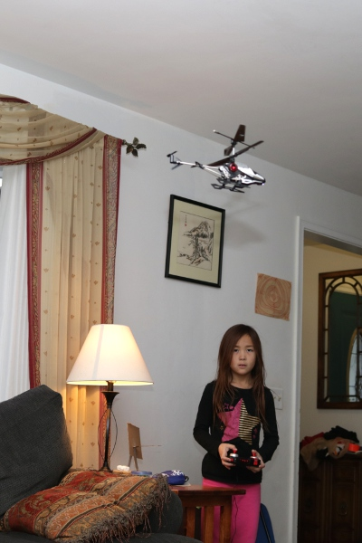 SteelyKid flying her helicopter.