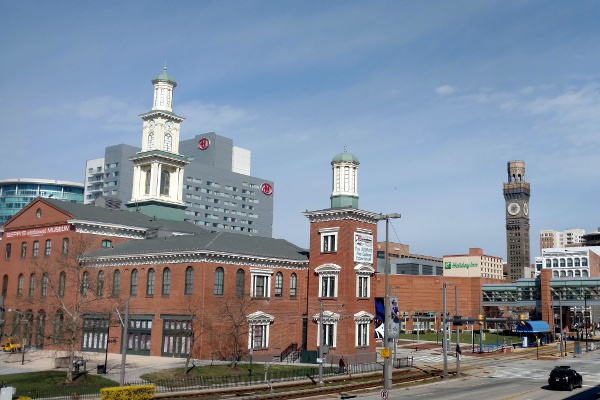 Buildings in downtown Baltimore, near the convention center.