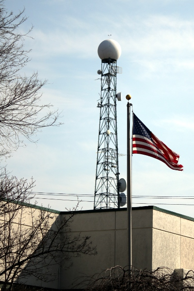 The broadcast tower from the local CBS affiliate.
