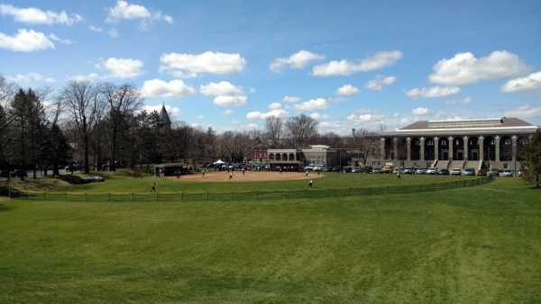 A softball game at Union.