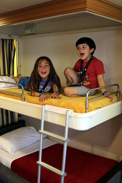 SteelyKid and The Pip like the bunk beds in the stateroom.