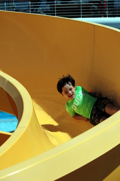 The Pip going down the waterslide on board.
