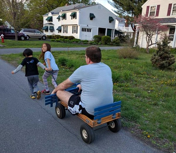 SteelyKid and The Pip pulling me on a wagon.