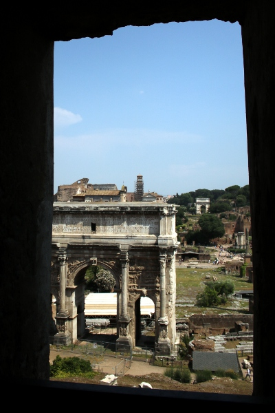 The Forum seen from a window in the Tabularium at the Musei Capitolini.