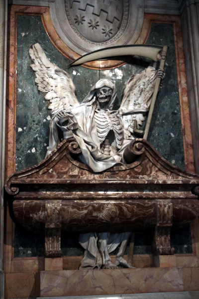 A great grim reaper statue from a memorial at the Basilica  of San Pietro in Vincoli.
