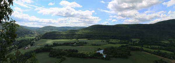 Panorama of farmland from the top of Vroman's Nose.