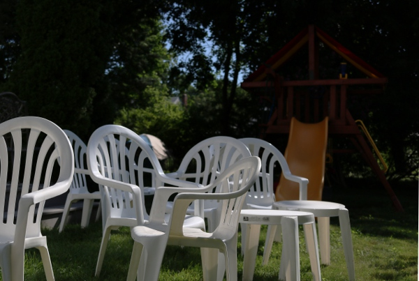 White plastic chairs getting ready for SteelyPalooza 2016,