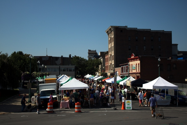 The Schenectady Greenmarket, our regular Sunday-morning activity.