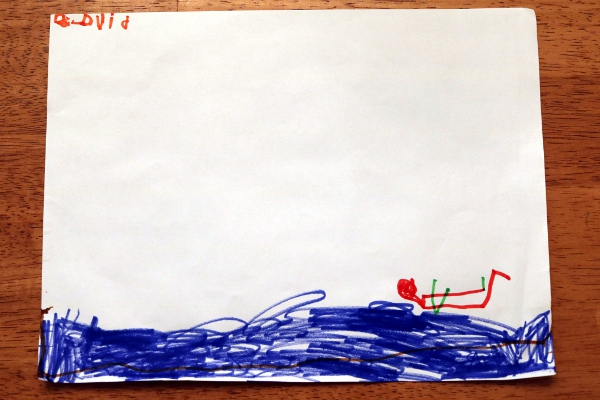 The Pip's drawing of himself swimming with a green pool noodle.