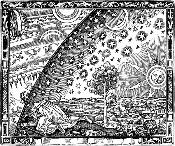 "The Flammarion Engraving. The adjoining caption reads: ""A missionary of the Middle Ages tells that he had found the point where the sky and the Earth touch"""