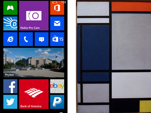 Live tiles vs. Piet Mondrian