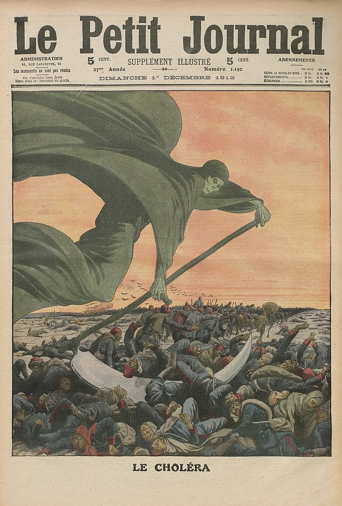 The scourge of cholera. December 1912. Le Petit Journal, Bibliothèque nationale de France. [This image is in the public domain.]