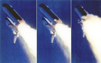Image credit: three shots of the challenger during its last flight, with the hydrogen leak visible.